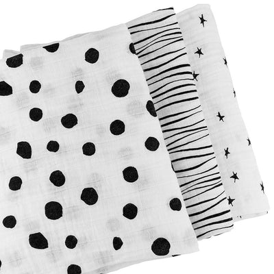 Ely's & Co Cotton Muslin Swaddle Blanket B&W Abstract Combo - 3 Pack