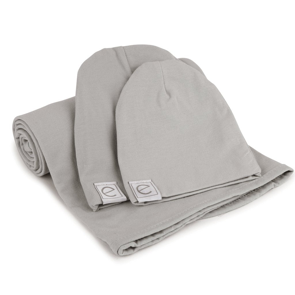 Ely's & Co Jersey Knit Cotton Swaddle Blanket and Beanie Gift Set - Grey