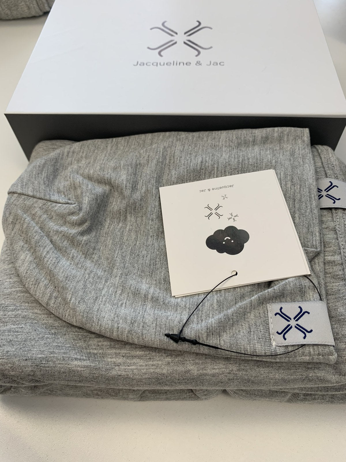 Jacqueline & Jac Beanie and Blanket Set Heather Gray