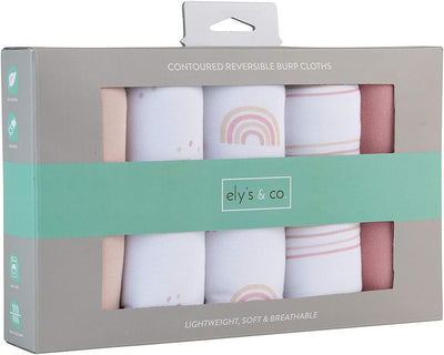 Ely's & Co Reversible Burp Cloths Dusty Pink Rainbow Collection