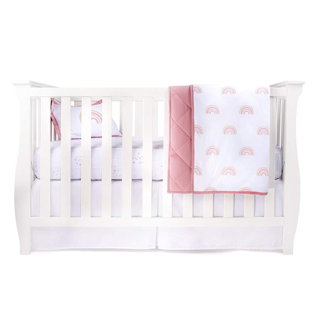 Ely's & Co Four Piece Baby Crib Set Dusty Pink Rainbow
