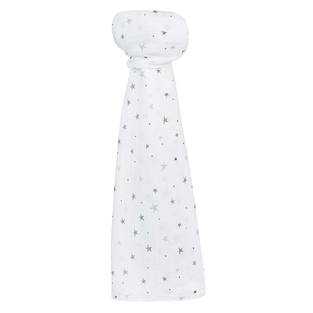Ely's & Co Cotton Muslin Swaddle Blanket - Grey Stars