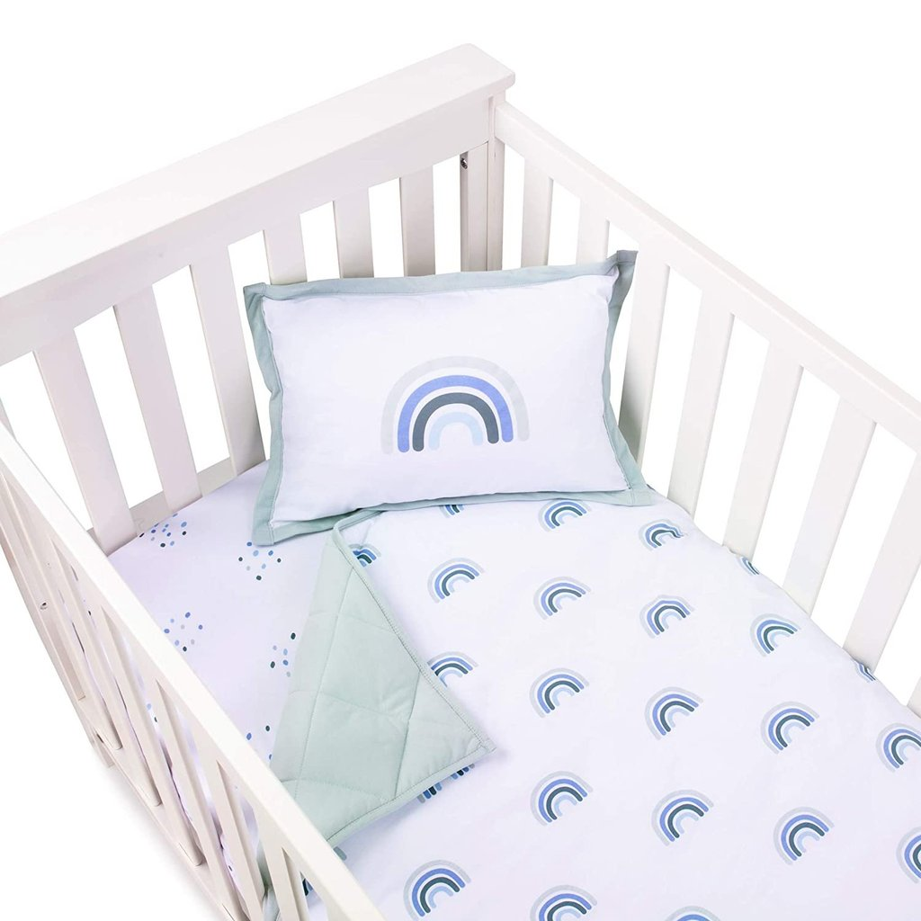 Ely's & Co Four Piece Baby Crib Set Blue Rainbow