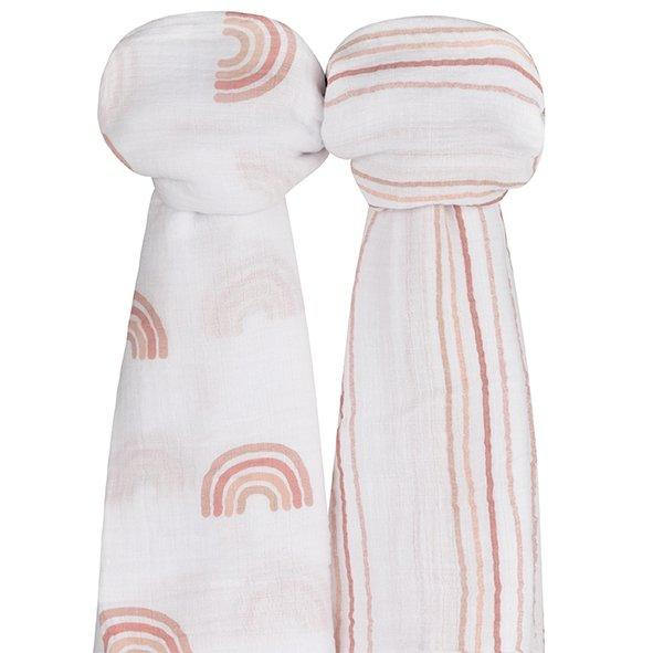 Ely's & Co Cotton Muslin Swaddle Blanket Dusty Pink Rainbow Collection