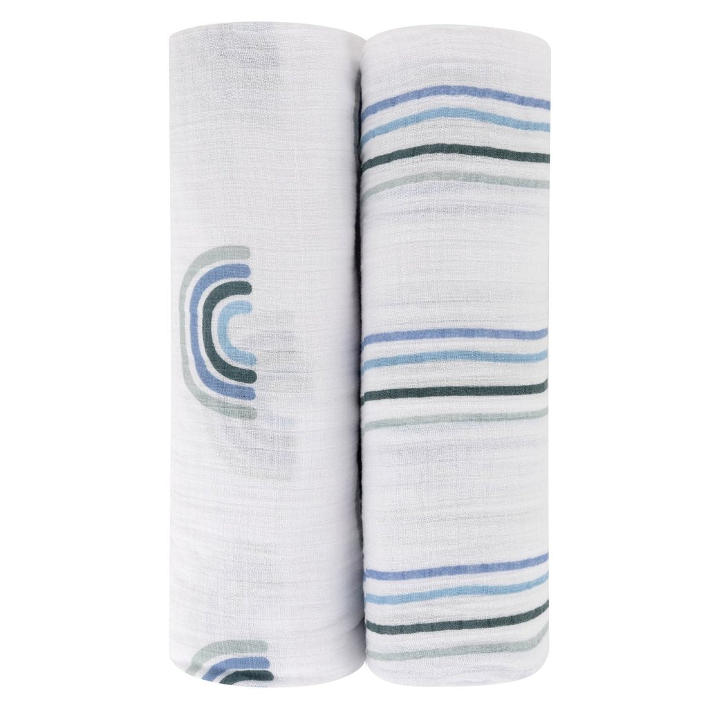 Ely's & Co Cotton Muslin Swaddle Blankets Blue Rainbows Collection