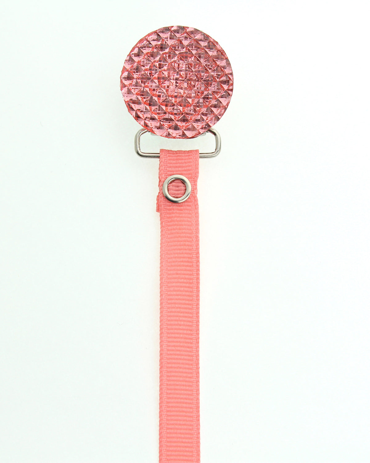 Crystal Dream Quilted Crystal Pacifier Clip with Solid Ribbon Pink Shades