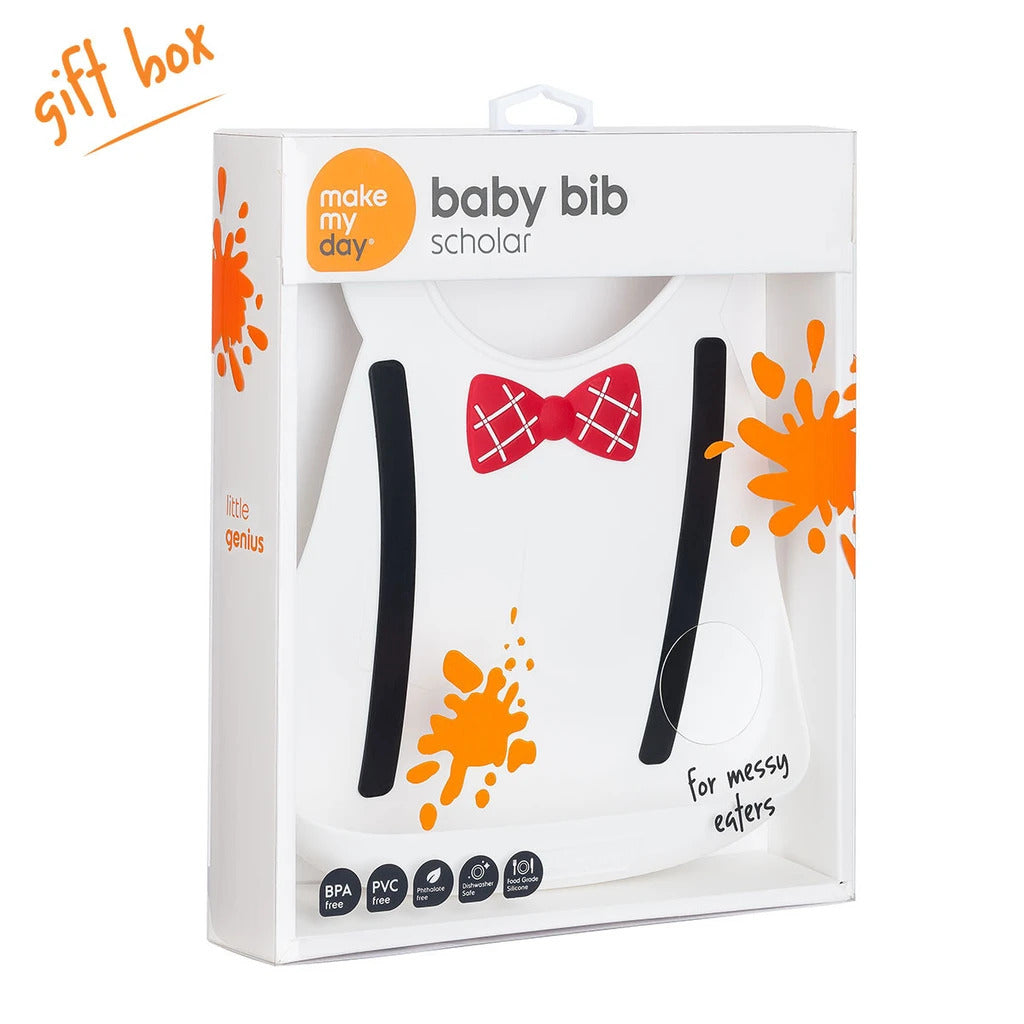 Make My Day Little Genius Bib - White