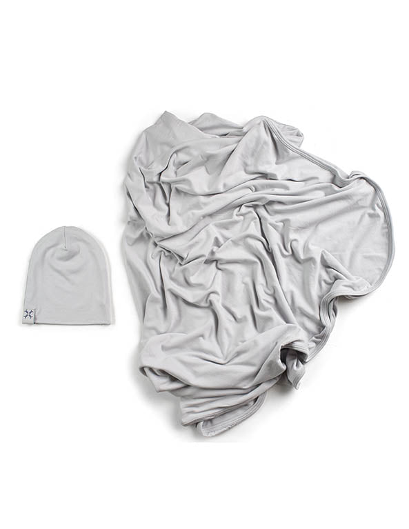 Jacqueline & Jac Beanie and Blanket Set Silver