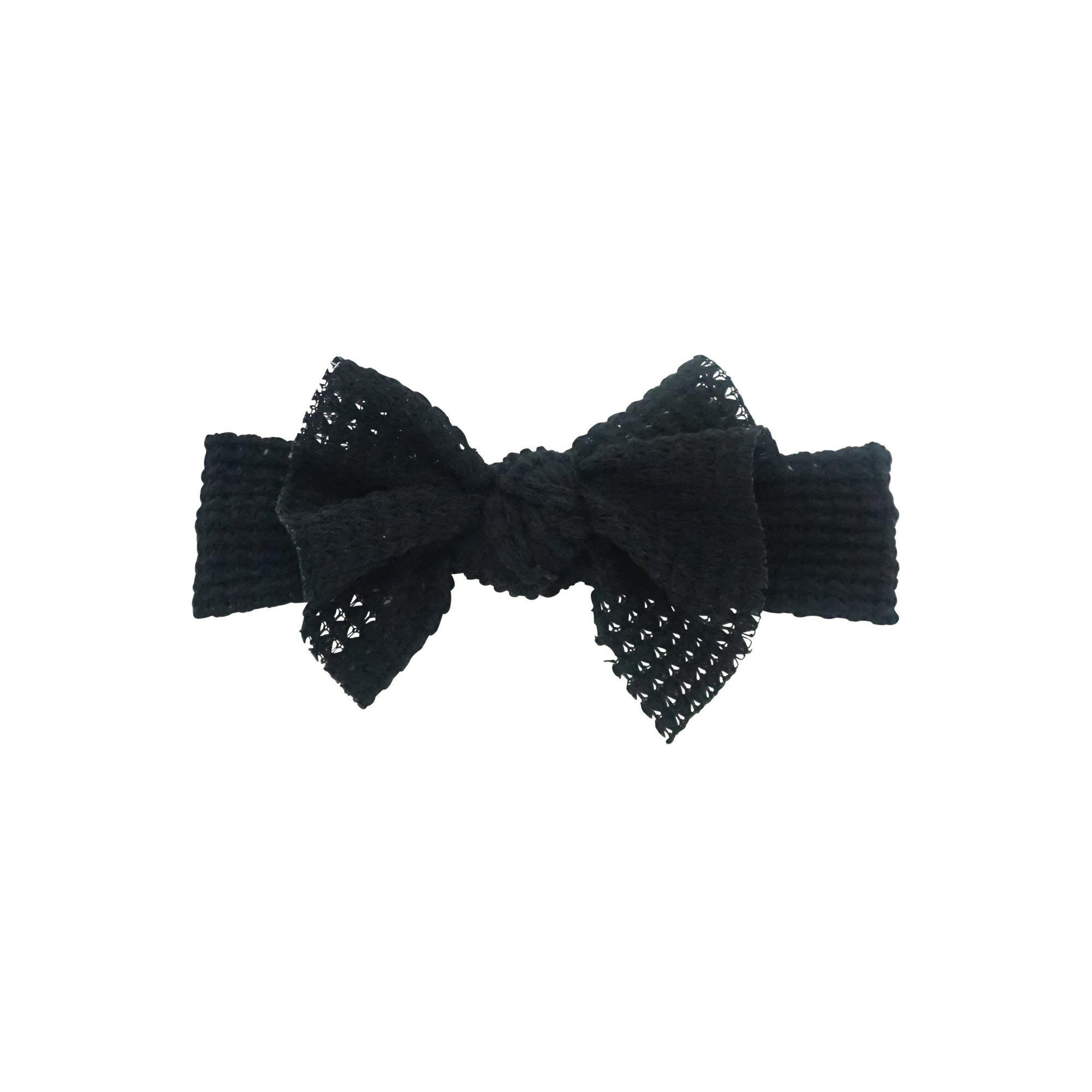 Bandeau Black Chunky Woven Floppy Bow Baby Band
