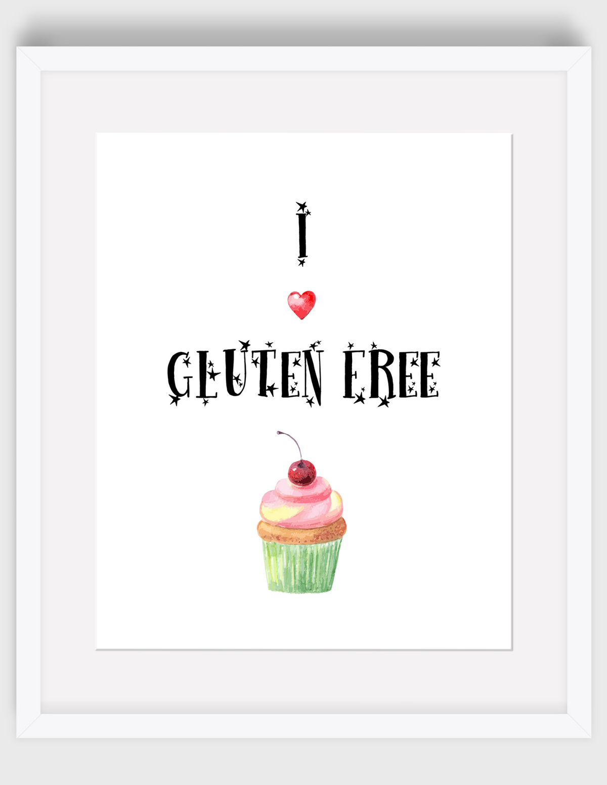 Gluten-Free Enjoy Sign w/Watercolor Cupcakes{Printable Digital Art}