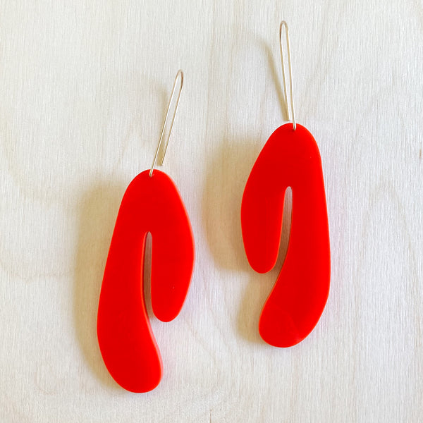 Title Earrings – Fire Red