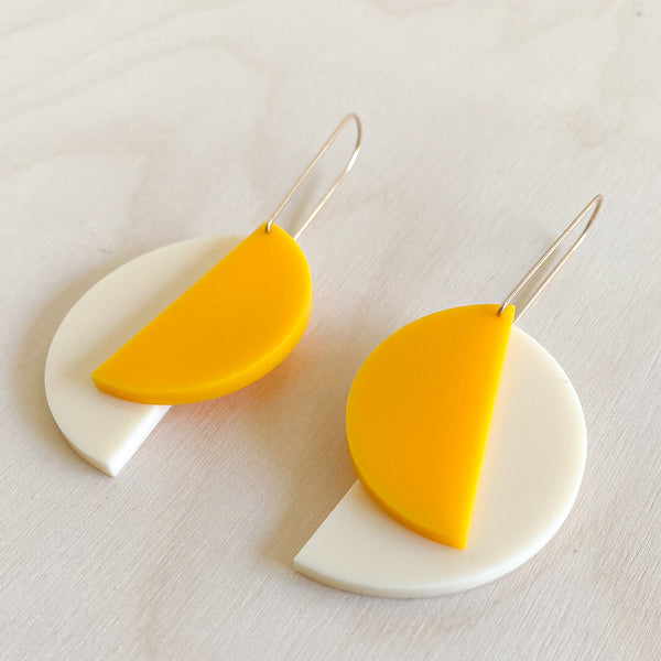 1:1 Earrings – Bone + Yolk