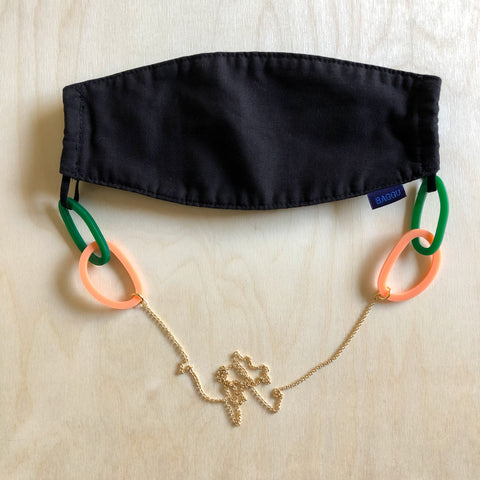 Link Mask Chain – Evergreen + Peach