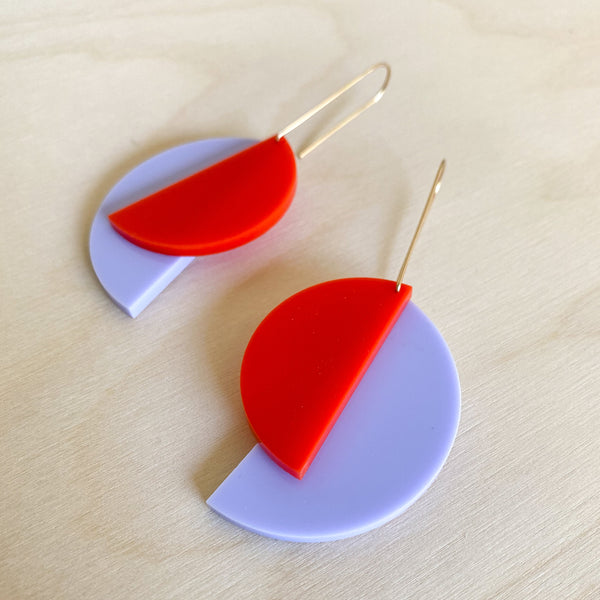 1:1 Earrings – Violet + Fire Red