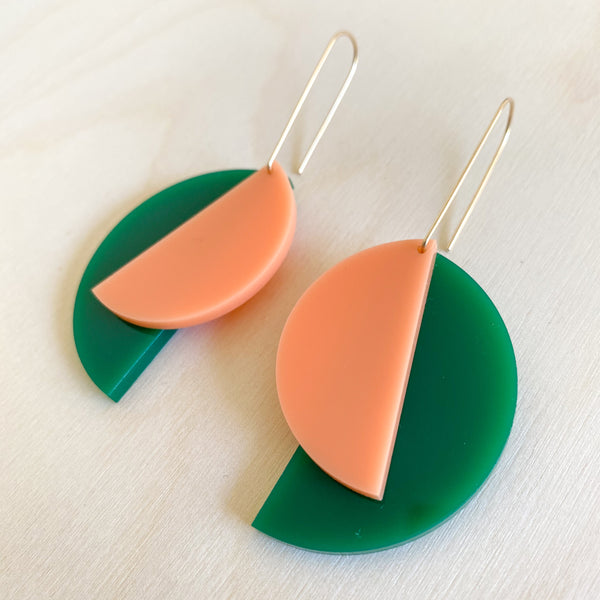 1:1 Earrings – Evergreen + Peach