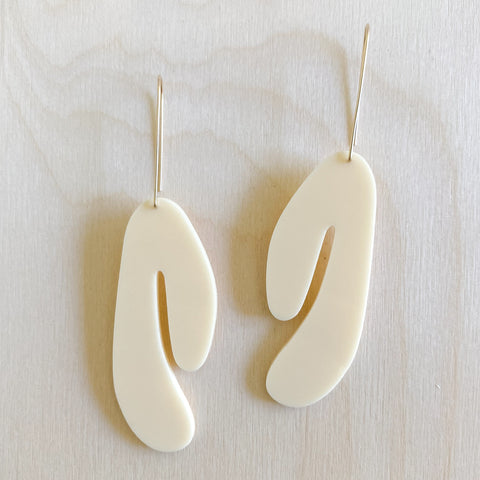Title Earrings – Bone