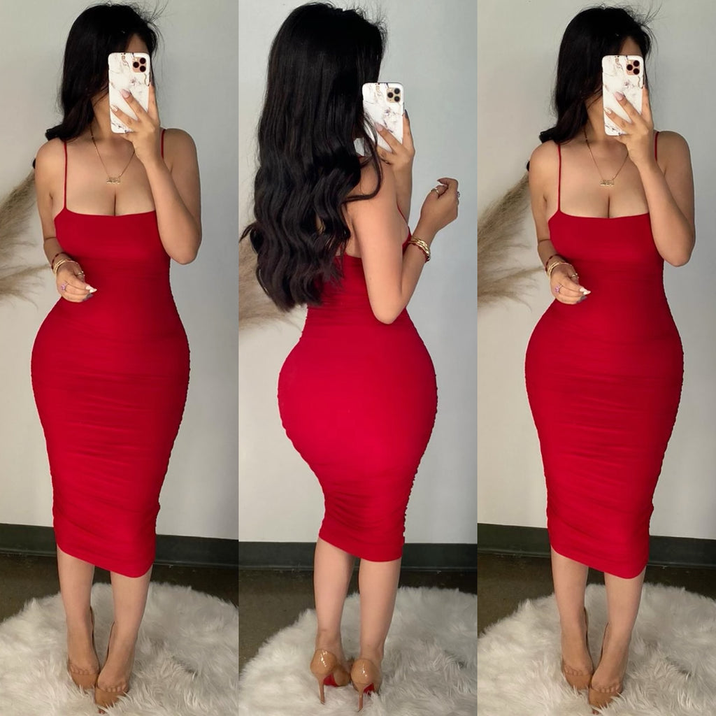 Kairo (Red) Ruched Midi Dress