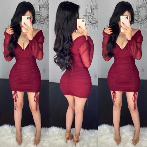 Becca (Burgundy) Mesh Mini Dress