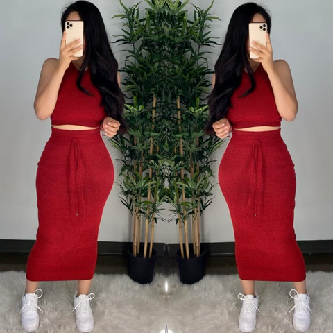 Fernanda (Red) Skirt Set