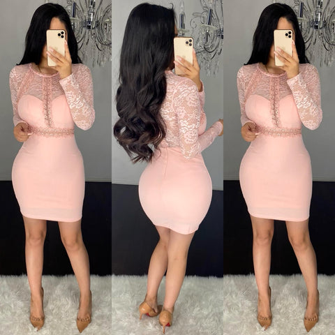 Idali (Blush) Laced Dress