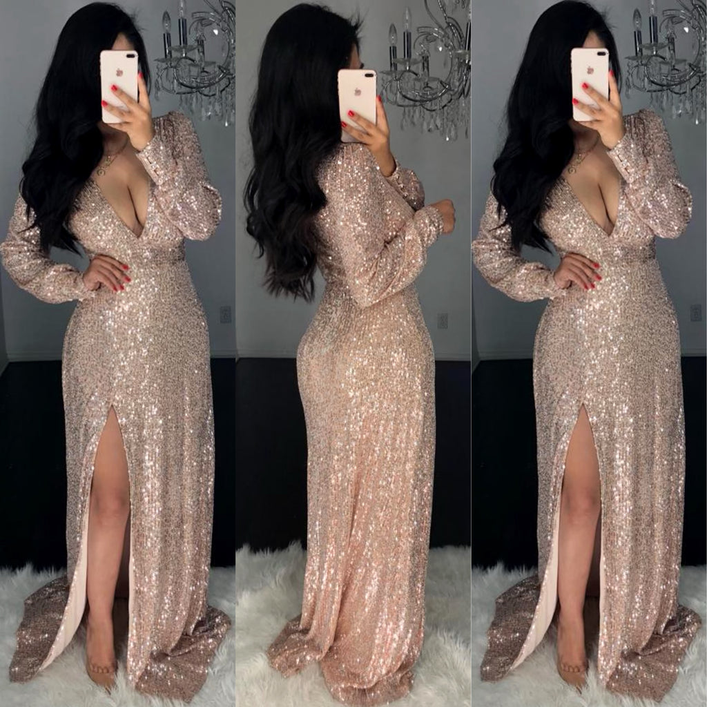 Odalis (Gold) Sequin Gown