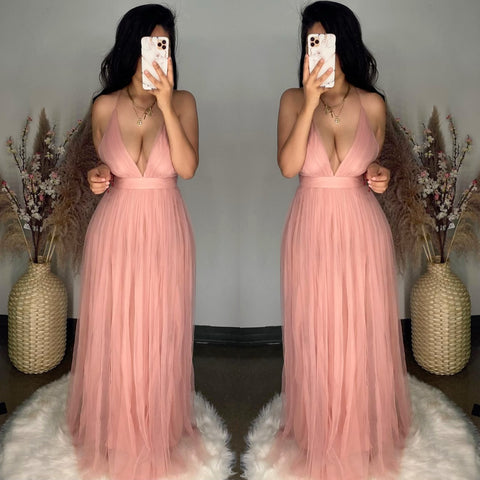 Audrey (Mauve) Mesh Maxi Dress