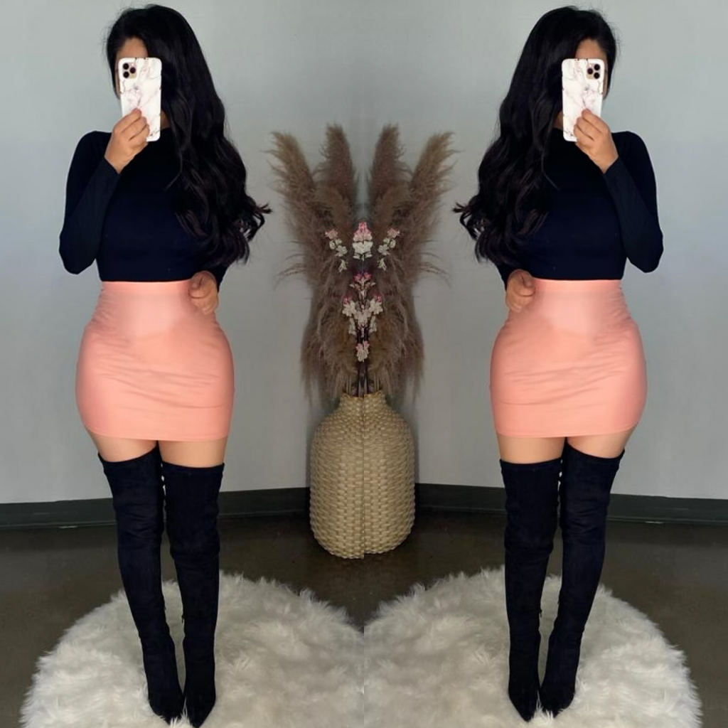 Keiran (Pink) Faux Leather Mini Skirt