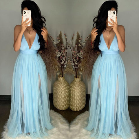 Audrey (Blue) Mesh Maxi Dress