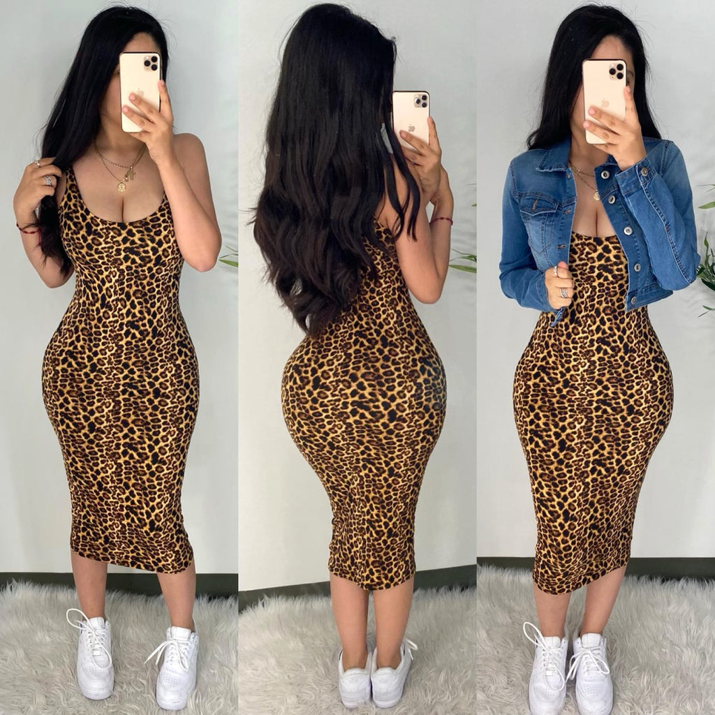 Amias Leopard Midi Dress