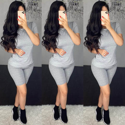 Demi (Heather Grey) Short Set