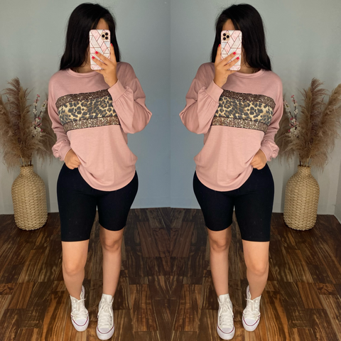 Leopard Mauve Top