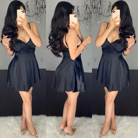 Mirelly (Black) Skater Dress