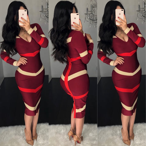 Samar (Burgundy) Bandage Dress