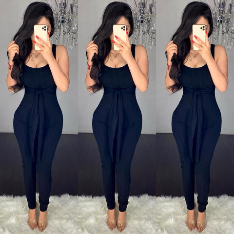 Remmy (Black) Ribbed Jumpsuit