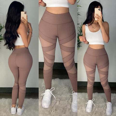 Mesh Stripes (Smoky Mauve) Leggings