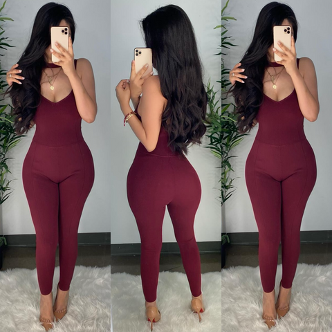 Cavaly (Burgundy) Jumpsuit
