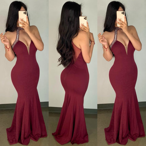 Marcello (Burgundy) Couture Gown