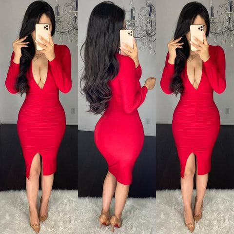 Tatiana (Red) Midi Dress