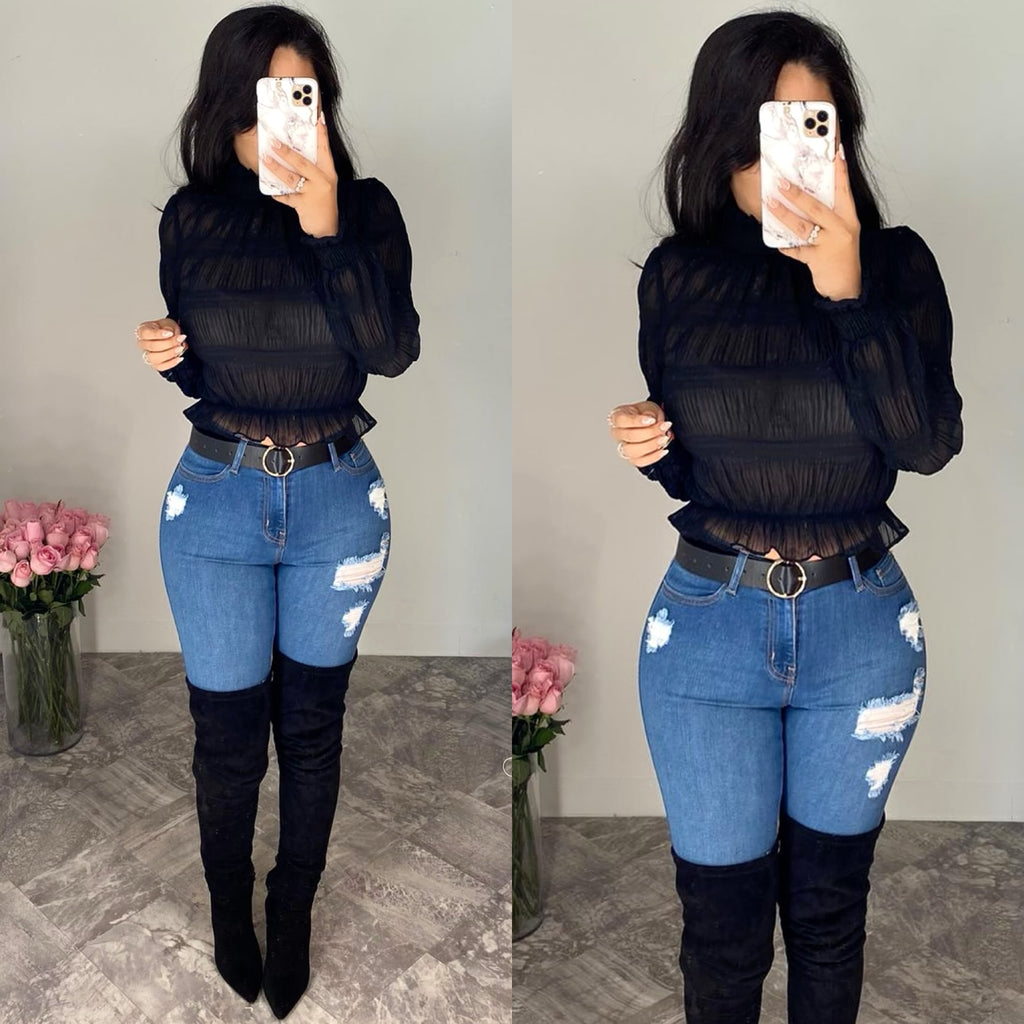 Fraise (Black) Mesh Crop Top