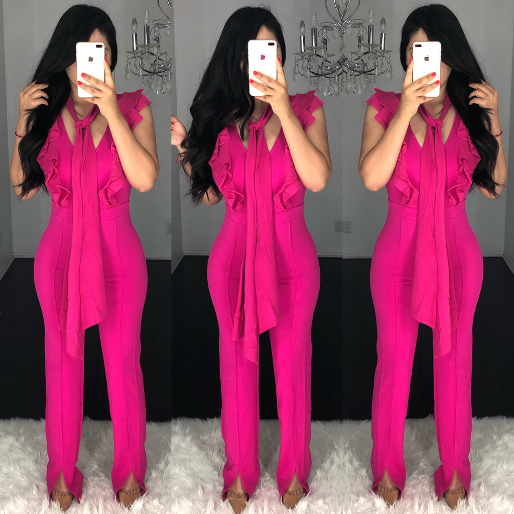 Linda (Hot Pink) Couture Jumpsuit