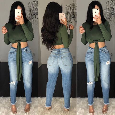 Vixen (Olive) Crop Top