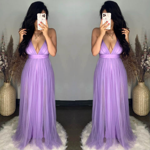 Audrey (Lavender) Mesh Maxi Dress