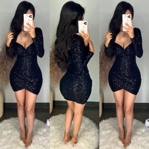 Valentina (Black) Sequin Mini Dress