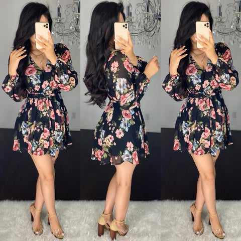 Melinda (Black) Floral Dress