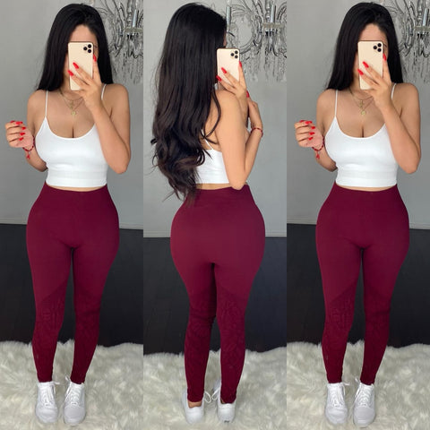 Fit High Waist (Burgundy) Leggings
