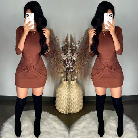 Cleo (Brown) Mini Dress