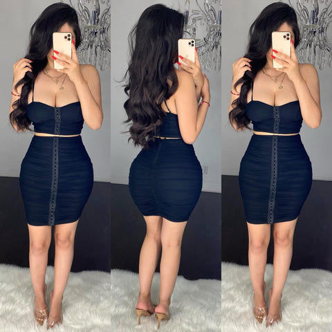 Susana (Black) Mesh Skirt Set