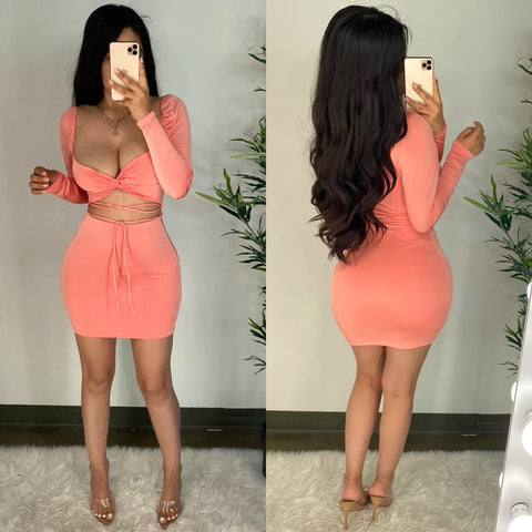 Ori (Coral) Mini Dress