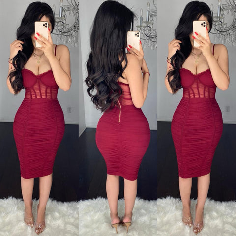 Kimmy (Burgundy) Mesh Dress