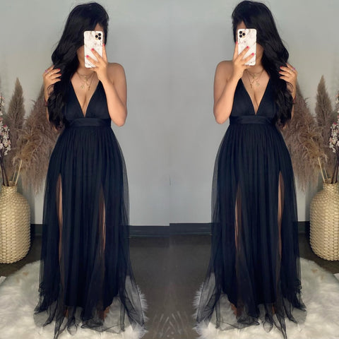 Audrey (Black) Mesh Maxi Dress